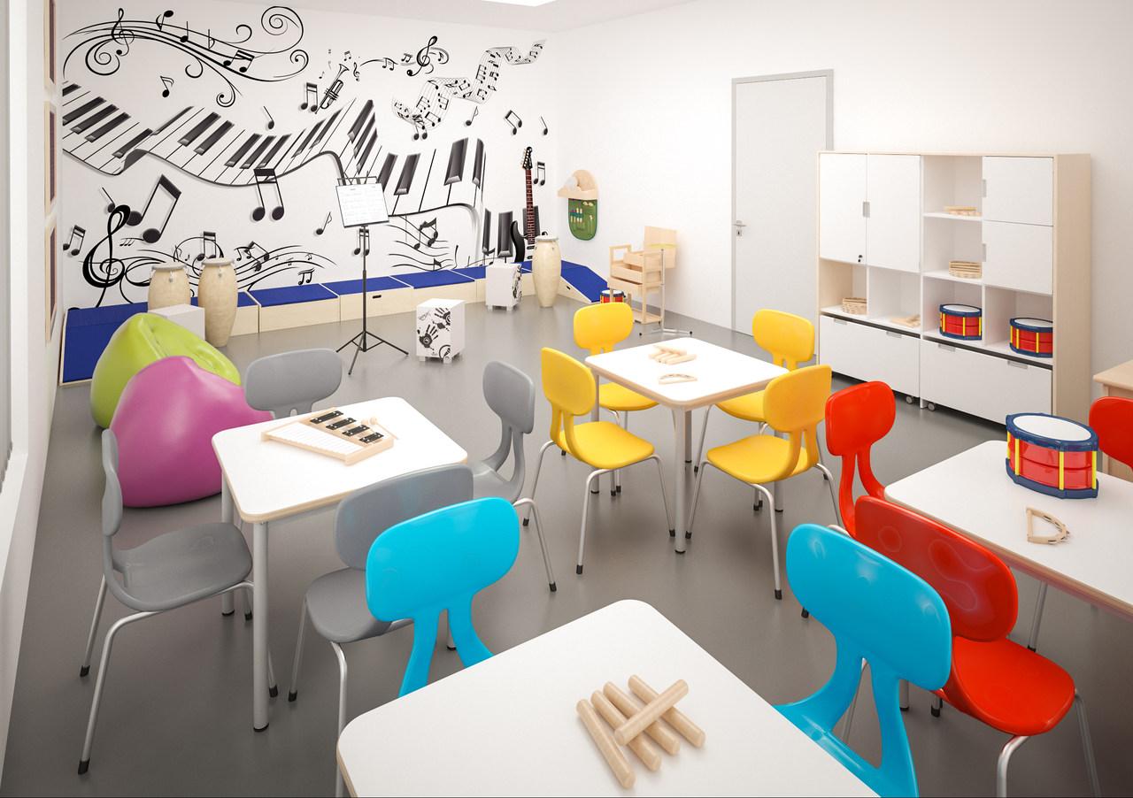 Pracownia muzyczna wyposażona w kolorowe krzesła Colores i sprzęty muzyczne