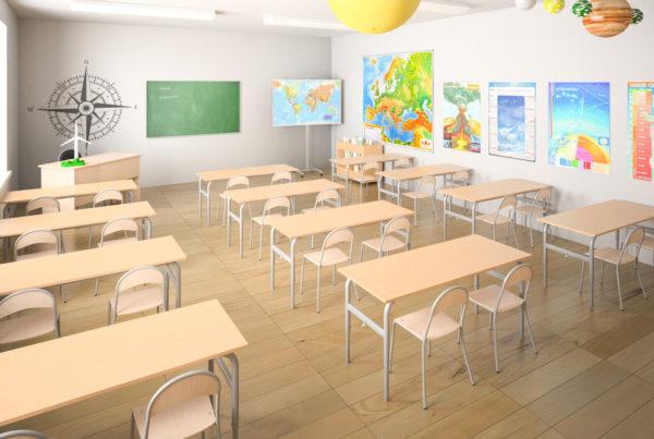 Aranżacja szkolnej pracowni geograficznej według wytycznych Ministerstwa Edukacji Narodowej.